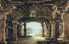 """"""" Götterdämmerung """" 1.Aufzug 1.Bild 1896 Entwurf Max Brückner"""