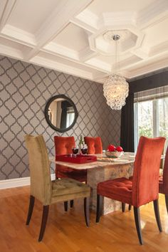 Glamour Living room, dining room, kitchen, small bathroom & entry contemporary dining room