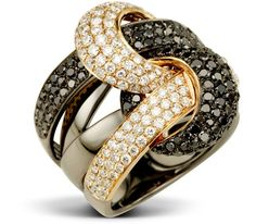 Volcano ring in rose and black gold with black and white diamonds