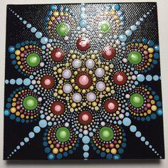 Hand Painted Mandala on Canvas Meditation Dot Art by MafaStones