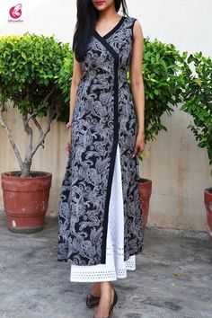 Buy Black Crepe Printed A-Line Kurti by Colorauction - Online shopping for Kurtis in India Salwar Designs, Printed Kurti Designs, Silk Kurti Designs, Kurta Designs Women, Kurti Designs Party Wear, Latest Kurti Designs, Long Kurta Designs, Dress Neck Designs, Designs For Dresses
