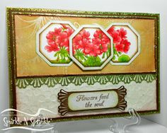 from CraftEMarie website.  This is a beautiful card. I love it. Die cuts, great layers and embossing, great coloring.  Gorgeous!