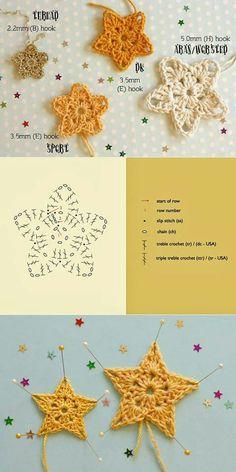 sterretjes haken - crochet stars pattern (Bees and Appletrees) Crochet Diy, Crochet Amigurumi, Crochet Motif, Crochet Crafts, Yarn Crafts, Crochet Patterns, Crochet Appliques, Crochet Stars, Crochet Snowflakes
