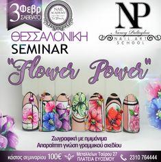 """Nail Art Seminar """"Flower Power"""" with Nancy Paltoglou at Top Beauty Nail Academy (📞 Beauty Nail Salon, Top Beauty, Art Academy, Artificial Nails, Nail Artist, Pedicure, Flower Power, Nailart, Nail Designs"""