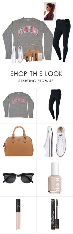 """Day 13/ I wanna love you with the lights on and hold you till the nights gone"" by raquate1232 ❤ liked on Polyvore featuring NIKE, Tory Burch, Converse, H&M, Essie, NARS Cosmetics, Too Faced Cosmetics and 15daysofShawnwKarina"