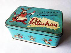 1950's Blue French TIN BOX