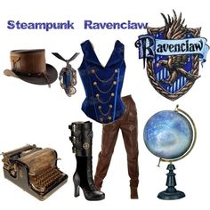ravenclaw or change the vest colour to any of the houses for the one you want ~~ not a fan of steam punk, not even a big fan of Harry Potter but this outfit is very cool Super Hero shirts, Gadgets Harry Potter Dress, Harry Potter Style, Harry Potter Outfits, Steampunk Cosplay, Steampunk Clothing, Steampunk Fashion, Ravenclaw, Themed Outfits, Inspired Outfits