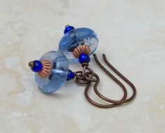 blue earrings. boho earrings. Czech glass by BijoubeadsLondon