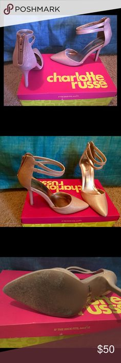 Textured Metallic Strappy Pumps - Charlotte Russe Pointy toe heels with double ankle straps. Slightly worn in. In wonderful condition. True to size. Because Poshmark doesn't have a rose gold option, I selected pink but it's really a metallic-rose gold color Charlotte Russe Shoes Heels
