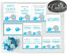 Now available at our store: Baby shower boy T.... Check it out here! http://snoopy-online.myshopify.com/products/baby-shower-boy-table-signs-decoration-printable-with-blue-aqua-and-gray-color-elephant-theme-digital-files-instant-download-ebl01