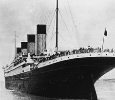 This photo, taken in 1912 at the beginning of the Titanic's doomed voyage, shows the vessel leaving Queenstown (now Cobh), Ireland.