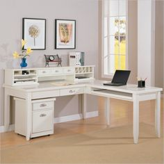 Kathy Ireland Home by Martin Tribeca Loft L-Shape Desk with Hutch in White - TW384-R-678-PKG