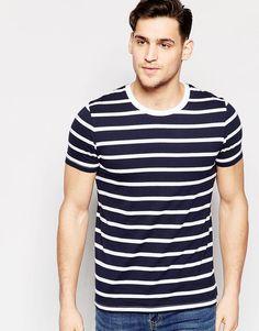 Image 1 ofASOS Stripe T-Shirt In White And Navy