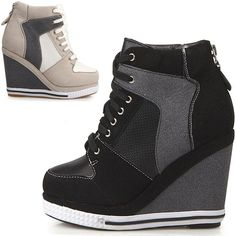about Ladies High Top Trainers Platform Wedge Heels Sneakers Lace Up Boots Round Toe Womens ladies platform wedge booties high heels sneakers shoes lace upWomens ladies platform wedge booties high heels sneakers shoes lace up Mode Shoes, Sneakers Mode, Sneakers Fashion, Fashion Shoes, Sneakers Shoes, Sneaker High Heels, Wedge Sneaker, Wedge Heels, Platform High Heels
