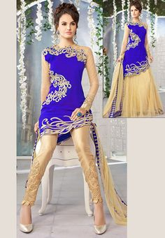 Blue Georgette Straight Pant Kameez with Lehenga