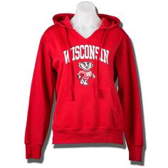 Top Promotions Women's V-Neck Hooded Sweatshirt (Red) *