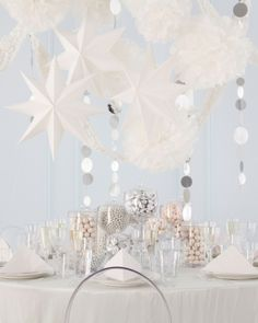 For over the cocktail table - paired with twinkle lights