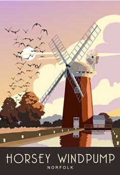 Travel style Poster of Horsey Windpump, Horsey Mere, Norfolk Broads. Tourism Poster, Poster Ads, Norfolk Broads, Norfolk England, Train Map, Europe Train, British Travel, Holland, Railway Posters
