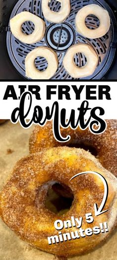 Easy air fryer donuts are crisp on the outside and soft on the inside. Dipped in cinnamon sugar, you get the perfect donut from biscuit dough without deep frying! Canned Biscuit Donuts, Fried Biscuits, Canned Biscuits, Air Fry Donuts, Fried Donuts, Easy Donut Recipe, Donut Recipes, Deep Fried Donut Recipe, Top Recipes
