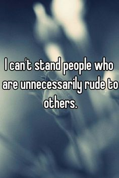 """Someone from New Port Richey posted a whisper, which reads """"I can't stand people who are unnecessarily rude to others. Rude People Quotes, Ignore Me Quotes, Work Quotes, Life Quotes, Angry Person, Quotations, Qoutes, Funny Quotes, Funny Memes"""