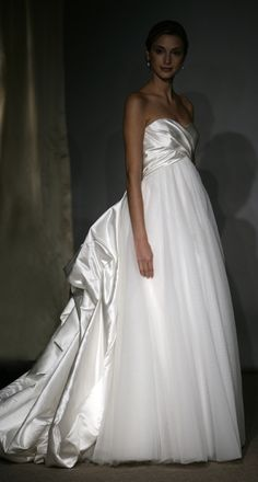 Layered tulle wedding dress with detachable cascading satin draped train