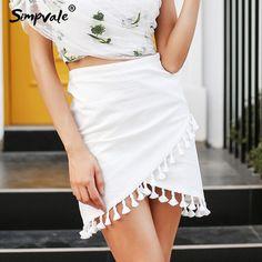 27ee2bb2cc SIMPVALE Tassel white women skirt High waist pencil black mini skirt  Streetwear chic short beach summer skirt female Price: 31.28 #tees