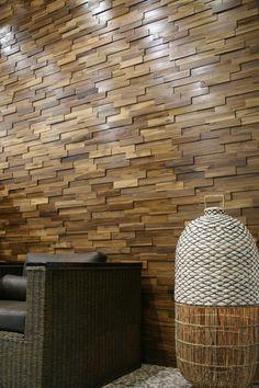 Recubrimiento Madera Mosaico Teca Muro Diseño Fachada - $ 750.00 en MercadoLibre