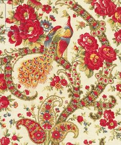 Patterned cloth with Peacock, second half of the twentieth century (roller-printed cotton cloth)