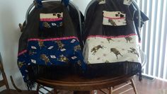 Matching bucking bull car seat covers with faux leather and fringe with peek-a-boo windows that i made for our twin boys