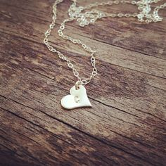 Dainty Sterling Silver Heart Initial Necklace