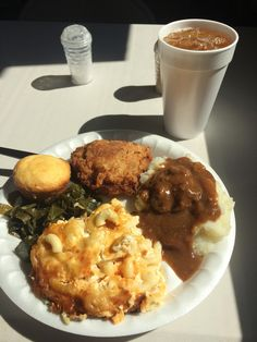 Fried Chicken, Salisbury Steak w/ Real Mashed Potatoes, The Best Mac n Cheese, Collards, and Cornbread from a Farm-to-Table Country Buffet [OC] via /r/food. Food Goals, Aesthetic Food, Food Cravings, I Love Food, Soul Food, The Best, Food To Make, Food Porn, Food And Drink