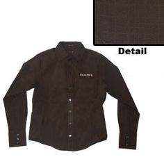 Roush Longsleeved Brown Ladies Nyne Dress shirt (1585), $49.95 (http://store.roushcollection.com/roush/roush-longsleeved-brown-ladies-nyne-dress-shirt/)