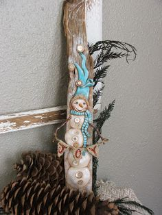 Love this: Creative Paperclay® air dry modeling material: Re-claimed Wood Snowman Decor