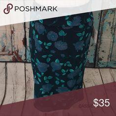 Cassie skirt XL Teal floral pattern LuLaRoe Skirts Midi