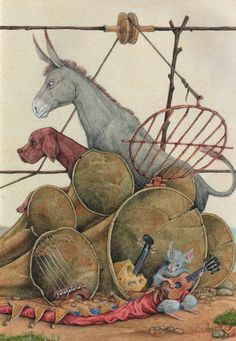 "Leo Kaplan, ""The Bremen Town Musicians"" Repinned by www.mygrowingtraditions.com"