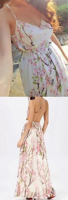Stay fresh in floral! This floral printed maxi dress features a V neckline and crisscross strap at the back.