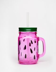 This watermelon drinking jar ($12). | 52 Things Everyone Who's Obsessed With Watermelons Needs To Own