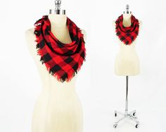 CLEARANCE - vtg 80s indie grunge revival red black BUFFALO check plaid FRINGE slouchy square neck scarf $9.99