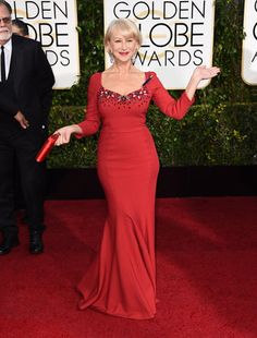 Helen Mirren in Dolce & Gabbana Helen Mirren arrives at the 72nd annual Golden Globe Awards at the Beverly Hilton Hotel on Sunday, Jan. 11, 2015, in Beverly Hills, Calif. (Photo by Jordan Strauss/Invision/AP