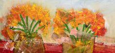 mis flores del alma. 2017. mixta/tela. 70 x 150 cm.