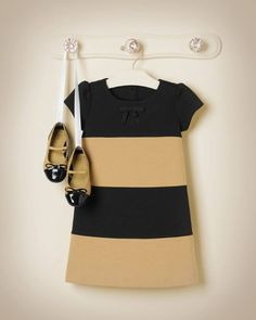 Janie & Jack Hello Houndstooth Black & Tan Colorblock Ponte Dress in Tan Stripe with Quilted Patent Leather Ballet Flat in Tan (Double Bow Grosgrain Ribbon Barrette available to match)
