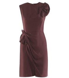 Agata Dress by Diane Von Furstenberg. Sleeveless aubergine silk dress with round neck with a small back neckline slit and top hook. Slim-fit with a fan ruffle detail on the chest and hip with a hidden side zip fastening. #Matchesfashion