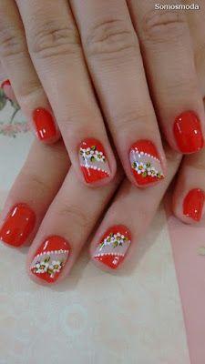 pretty manicure minus the stone & flower though. Flower Nail Designs, Flower Nail Art, Nail Art Designs, Red Nails, Hair And Nails, Cute Nails, Pretty Nails, Beautiful Nail Designs, Nagel Gel