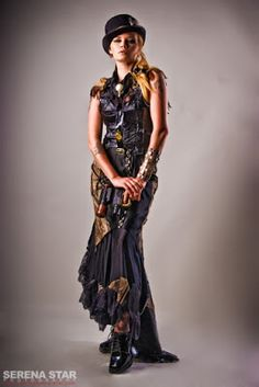 From the Steampunk Fashion Guide to Skirts & Dresses: Mermaid/Fishtail Skirts - this is an example of a woman wearing a Steampunk Mermaid Fishtail Skirt with Train