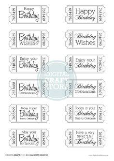 Birthday Ticket - Digi Stamps - Digital Craft Store