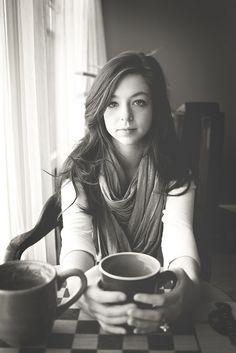 pretty portrait    #black and white #portrait #coffee shop