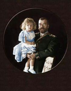 Tsar Nicholas ll of Russia with Tsarevich Alexei Nikolaevich Romanov.
