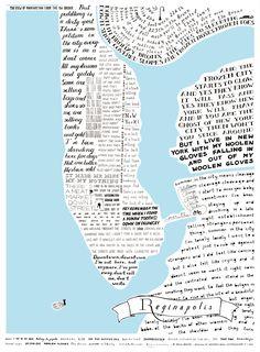 Hand drawn map of Manhattan by Francesca Pacini, based on songs by Regina Spektor