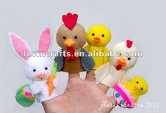 colorido y de animales pequeños conjuntos de fieltro títeres de ...
