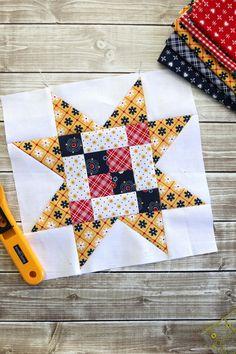 Meet the Makers Quilt Block Tutorial #5 - Diary of a Quilter - a quilt blog Quilting Tutorials, Quilting Projects, Quilting Designs, Quilting Ideas, Quilt Block Patterns, Pattern Blocks, Star Patterns, Basting A Quilt, Chicken Quilt